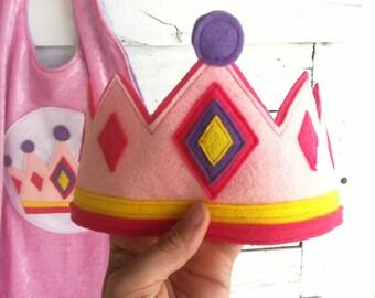 Pink Felt Princess Crown - Wool or Eco Felt Crown - Party Crown