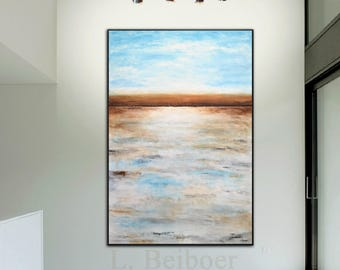 Original Artwork Extra Large Abstract Painting, Handpainted Modern Landscape, Blue Abstract Painting Wall Art by L. Beiboer
