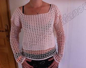 A light sweater pink fine cotton crochet handmade