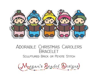 Beading Pattern: Sculptured Brick Stitch Childred Christmas Carolers