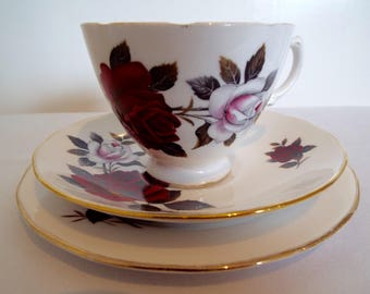 Vintage Tea Cup and Saucer with Red and White Roses. Red Roses Colclough Teacup and Cake Plate Trio. Perfect For An Afternoon Tea Party