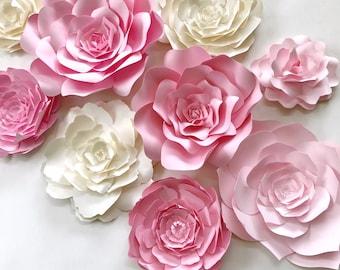 Pink Paper Flower Wall Decor, large paper flower backdrop, nursery wall art, paper flower backdrop, girls room decor, nursery decor,