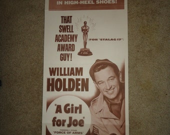 Original R1954 Force Of Nature AKA A Girl For Joe Insert Movie Poster William Holden Oscar