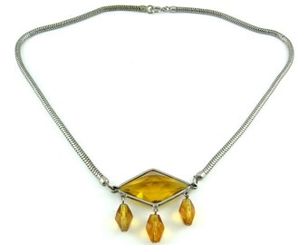 1930s Deco Citrine Glass Pendant with Drops, Snake Chain Necklace
