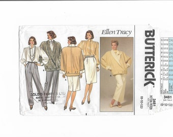 Vintage 1980s Butterick 3481 Sewing Pattern Misses' Jacket, Skirt, Pants and Blouse Size 8-10-12