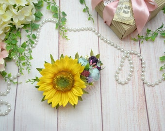 Gift/for/her Flower hair comb Sunflower hair accessory Bridal hair Wedding hair comb Gift/for/girlfriend Flower girl comb Bridal hair piece