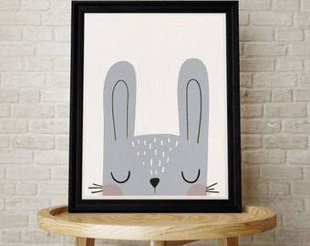 Baby Bunny, Rabbit, Nursery Art, Kids Room, Kids Wall Art, Illustration, Playroom, Bunny Rabbit, Contemporary, Scandinavian Nursery, Cute