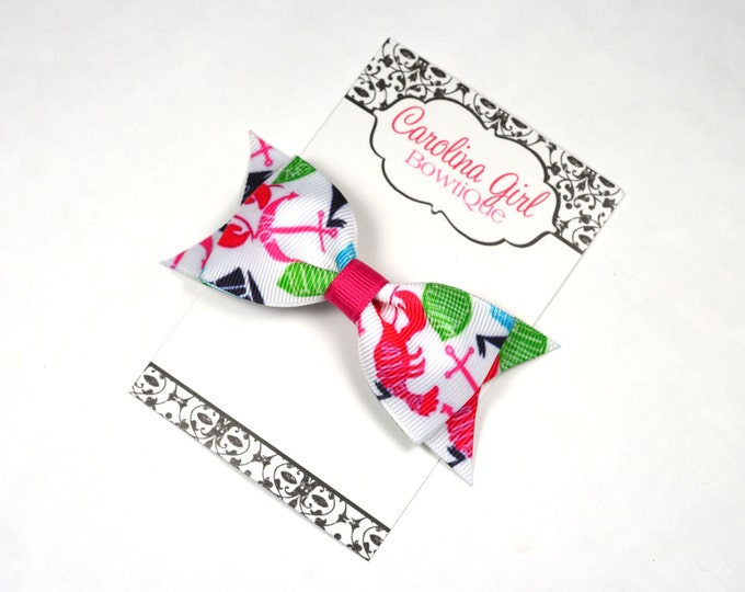 """Summer Classic ~ 3.5"""" Hairbow ~ Lilly Inspired ~ Small Hair Bow ~ Girls Barrette ~ Toddler Bow ~ Hair Clip ~ Girls Hair Bow"""