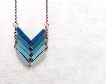 Wood minimalistic Geometric Necklace. Unique gift for her for christmas. Geometric necklace. Wood anniversary gift. ALASKA. Modern design