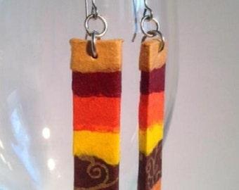 Sunrise Hanji Paper Earrings OOAK Patchwork Brown Yellow Orange Boho Earrings Hypoallergenic hooks Dangle Earrings Lightweight