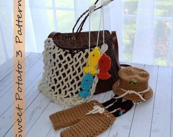 PATTERN Fishing Set - Hat, Pants, Suspenders, Fish, Net - Crochet