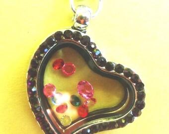 Silver Memory Heart Locket Black Rhinestone w/Crystals ~ Matching Link Chain Included  FL16-2