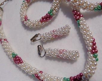 70's Handmade Beaded Rope Necklace & Earrings