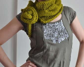 Hand Knit Chunky Wrap Cable Scarf Collar Cowl Neckwarmer mini Stole with bow tie pea green lemongrass or CHOOSE YOUR COLOR - Twist Me Around
