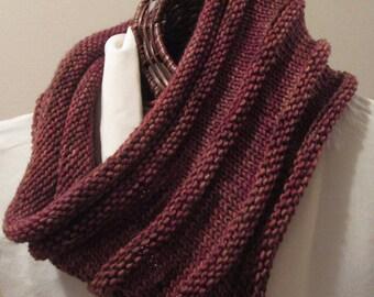 Hand-Knit Cowl in Luxury Redwood Brown Merino