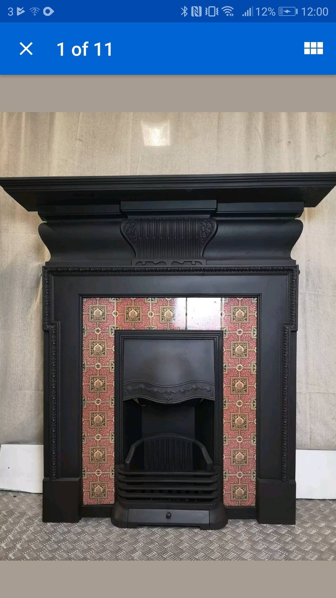Image of Fireplace Victorian cast iron tiled Fireplace Antique fire