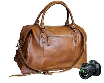 Leather Camera Bag, Dslr Camera Bag, Padded Camera Bag, Dslr Bag, Camera Bag, Camera Bag For Women, Women Camera Bag, Camera Messenger Bag