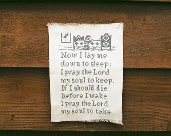 Cross Stitch Sampler, Vintage Natural Linen Sampler, I Pray The Lord Bedtime Prayer, Now I Lay Me Down To Sleep Needlework