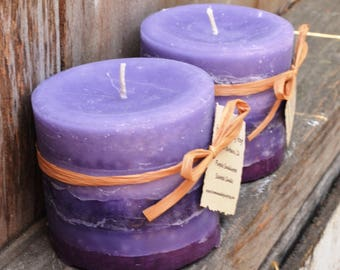 SALE: Pair of Purple Sandalwood Scented Small Cylinder Candles