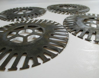 Vintage Salvaged Metal Parts - Round Shape - 4 Pieces - Assemblage, Steampunk, Altered, Mixed Media Art Supplies