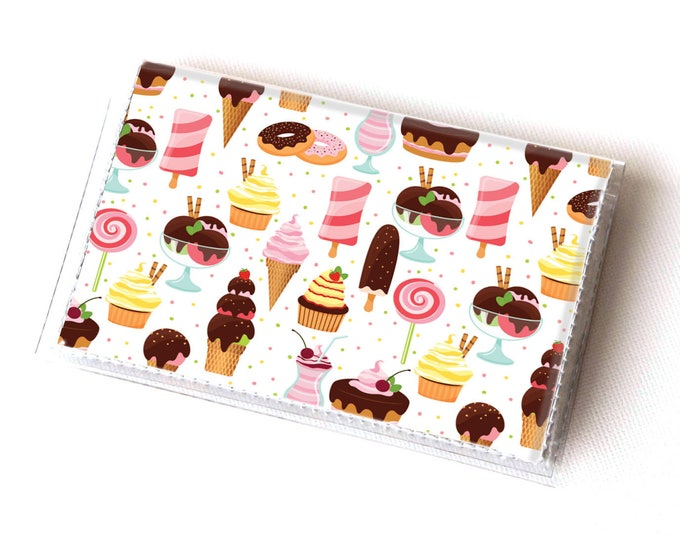 Handmade Vinyl Card Holder - Ice Cream and Sweets  / card case, vinyl wallet, women's wallet, small, pretty, baker, cute, gift, cupcake