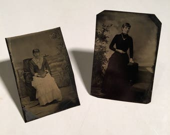 Pair of Tintypes of the Same Woman, 19th Century Photographs, Antique Tintype Photos