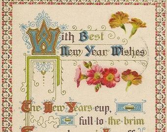 Antique New Year's Postcard Verse in Beautiful Script P Sander Publisher 1912
