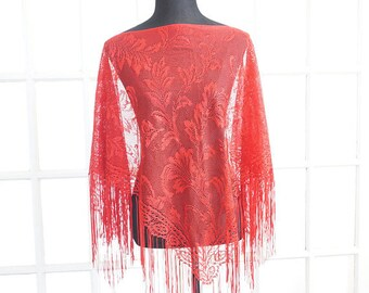 Vintage Red Floral Pullover Lace Scarf Shawl