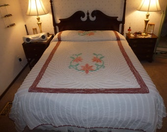 Vintage Floral Chenille Bedspread Full Size or Queen Size with a Bed Skirt  Shown on a Queen Size Bed with Dust Ruffle.