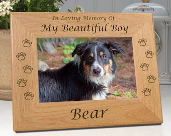 FREE SHIPPING - Dog Memorial Picture Frame - In Loving Memory Of My Beautiful Boy ..or.. Our Beautiful Boy - Free Sympathy Card - Fast Ship