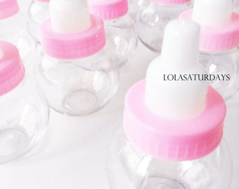 12 Baby bottles- it's a girl! round pink baby bottle party favors