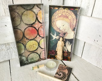 Small prayer box Mary shrine silver icon saint medal upcycled embellished/ free shipping US