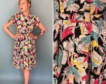 ON LAYAWAY Xs/s 1940s donna hale hale paris novelty print day dress with belt