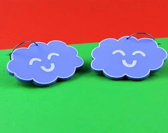 Pastel acrylic 'Happy Cloud' Dangly Earrings