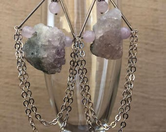 Raw Amethyst Drape Earrings