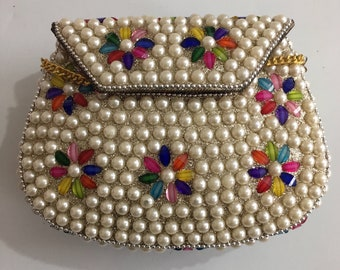 metal bag / ethnic clutch / Wallet / Indian clutch sling bag / vintage clutch / pearl clutch/ indian bridal clutch