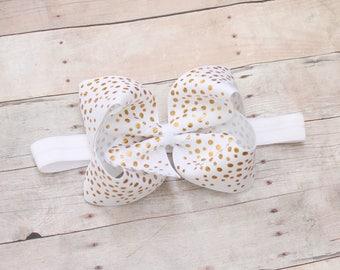 White and gold headband, bow headband, large bow, gold hair bow, baby headband, gold bow, newborn headband, large bow, baby bow headband