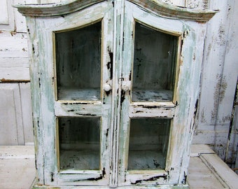 Distressed painted cabinet large primitive farmhouse wood and glass rustic curio display antique showcase home decor anita spero design
