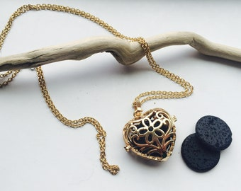 Tranquility* Gold heart locket necklace with oil diffusing lava stone!!!!
