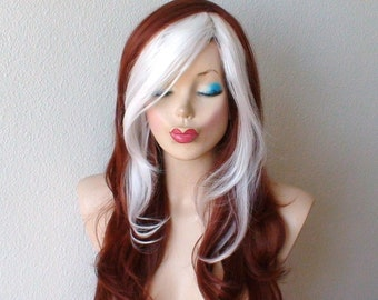 Cosplay wig. Copper red / White color hair Long wavy hair style Cosplay wig. White bangs wig.