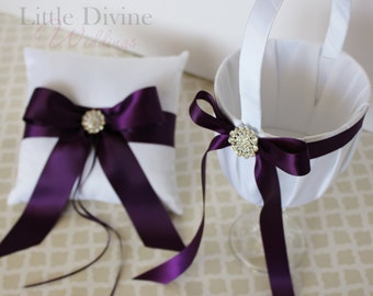 Wedding Set Ring Bearer Pillow and Flower Basket White Plum Purple Customizable in your Colors