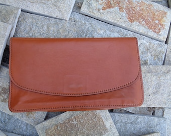 Vintage 1980s leather clutch, Brown evening bag, Clutches bag