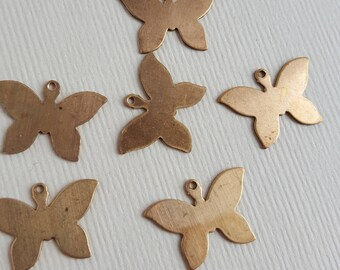 Vintage brass butterfly charms