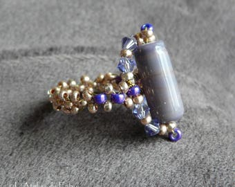 Purple ring with large Pearl cabochon