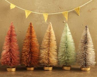 Bottle Brush Trees - 4 Inch Dyed Unicorn Forest - Putz Village Bottle Brush Christmas Trees - Miniature Dollhouse Tree -