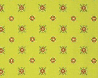 Vintage Yellow Flower Fabric - Fibs and Fables by Anna Maria Horner for Free Spirit - Cottage in Yellow - Fabric By the Half Yard