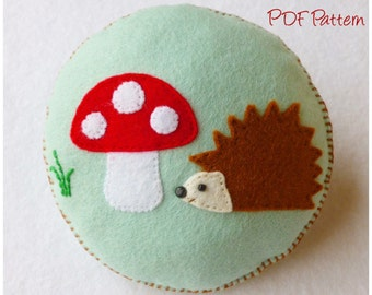Hedgehog and Toadstool Pincushion pdf Sewing Pattern