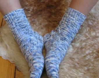 Hand knitted wool women socks