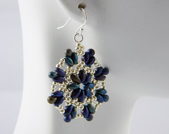 """READY TO SHIP Superduo Blue Iris and Silver Beadweaving Earrings """"Cobalt Blossom"""""""
