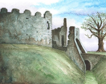 Restormel Castle Gate ORIGINAL watercolor painting, FREE shipping